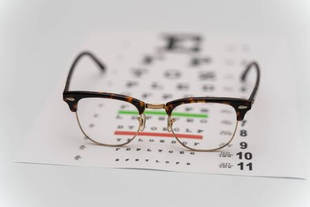 Eye Exam, The testing Board for verification of the patien. Vision test board optometrist with glasses