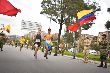 Bogota, Colombia. (May 06, 2018). At high speed came out the runners of the Race for the Heroes in their step to conquer the goal and help the heroes injured in combat