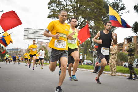 Bogota, Colombia. (May 06, 2018). With honor street the Colombians started the Race for the Heroes in Bogota.