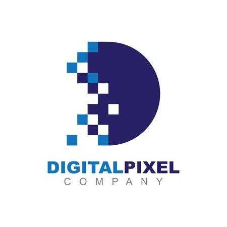 Letter D Pixel Technology Creative Logo Symbol Vector