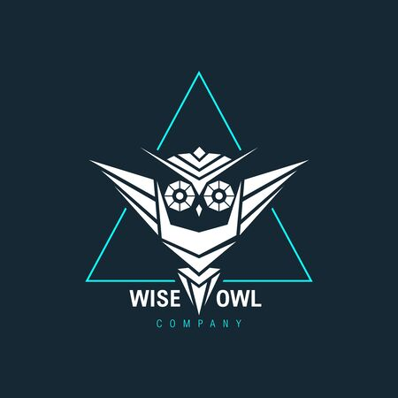 Owl Wisdom Wise Geometric Triangle Logo Symbol Vector