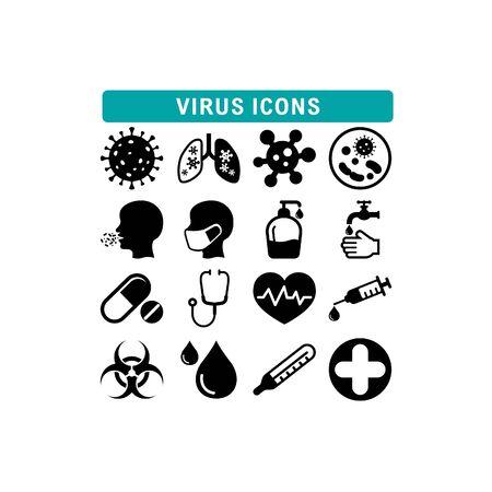 Coronavirus medical health simple icon set vector