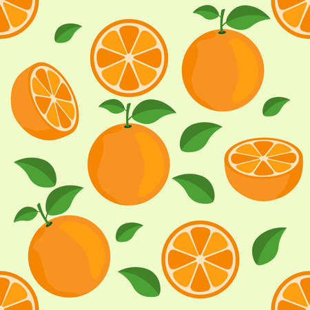 Orange citrus repeat pattern fabric gift wrap wall texture background vector