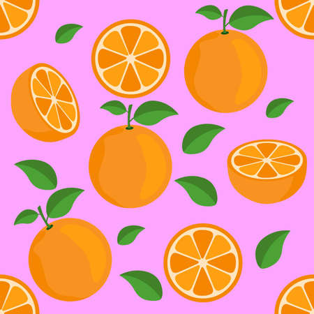 Orange citrus repeat pattern fabric gift wrap wall texture pink background vector Ilustrace