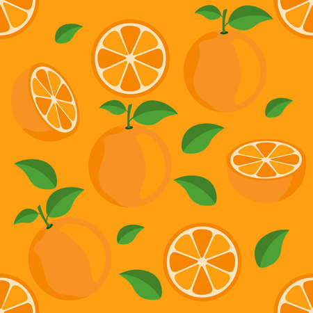 Orange citrus repeat pattern fabric gift wrap wall texture orange background vector