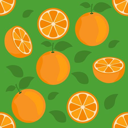 Orange citrus repeat pattern fabric gift wrap wall texture green background vector Ilustrace
