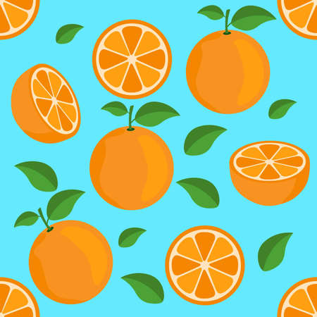 Orange citrus repeat pattern fabric gift wrap wall texture blue background vector