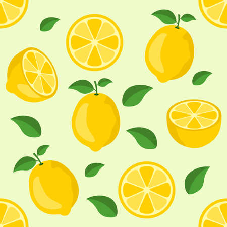 Lemon citrus repeat pattern fabric gift wrap wall texture background vector Ilustrace