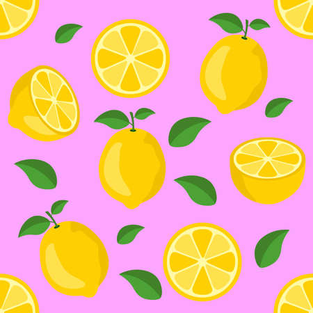 Lemon citrus repeat pattern fabric gift wrap wall texture pink background vector