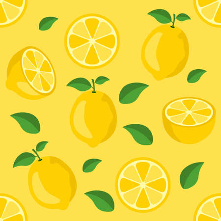 Lemon citrus repeat pattern fabric gift wrap wall texture background vector