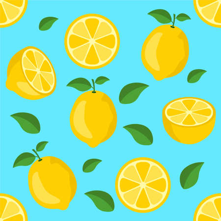 Lemon citrus repeat pattern fabric gift wrap wall texture blue background vector