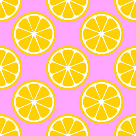 Lemon Orange citrus repeat pattern fabric gift wrap wall texture pink background vector