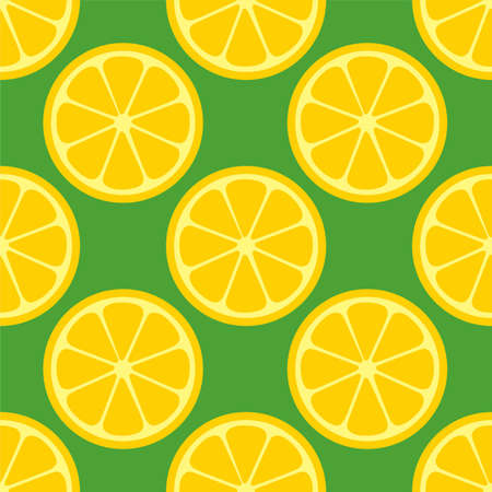 Lemon Orange citrus repeat pattern fabric gift wrap wall texture green background vector Ilustrace