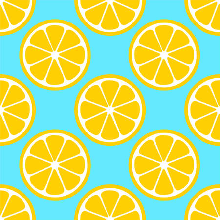 Lemon Orange citrus repeat pattern fabric gift wrap wall texture blue background vector