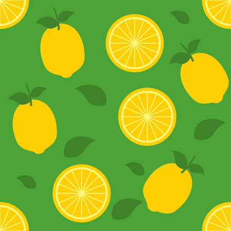 Lemon repeat pattern background green yellow fabric gift wrap wall texture vector Ilustrace