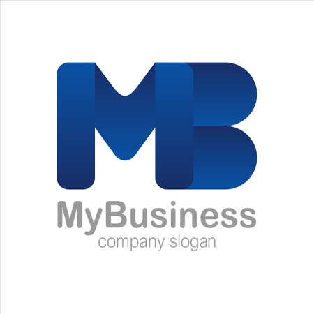 Letter M and B Logo Symbol blue Colorful Gradient Vector