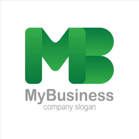Letter M and B Logo Symbol green Colorful Gradient Vector
