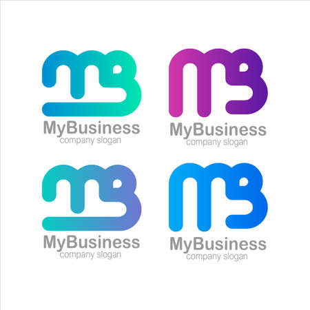 Letter M and B Logo Symbol Colorful Gradient Vector
