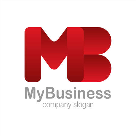 Letter M and B Logo Symbol red Colorful Gradient Vector