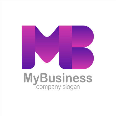 Letter M and B Logo Symbol purple Colorful Gradient Vector