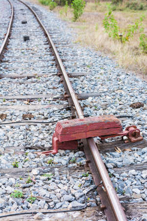 wood railroad: Wood for railroad lock, stop passing of the train to railroad   Stock Photo
