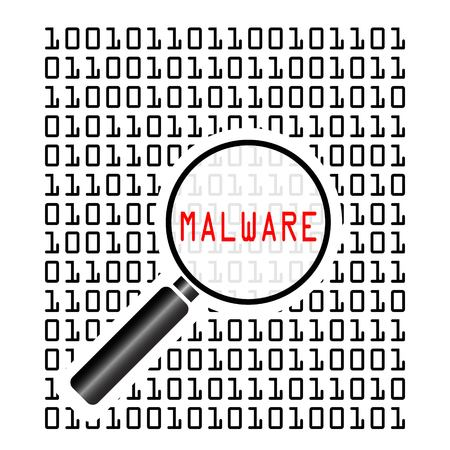 Vector illustration of binary code with malicious software code known as malware and magnifying lens on white background. Computer security concept.