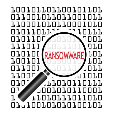 Vector illustration of binary code with malicious software code known as ransomware and magnifying lens on white background. Computer security concept.
