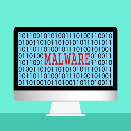 Vector illustration of cyber security concept. Malware appear on computer screen. IT security education.