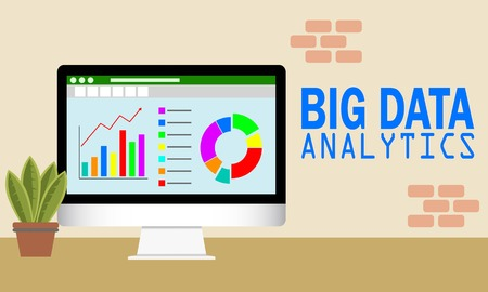Vector illustration of Big Data Analytics on  computer screen. Analytical dashboard concept. Financial accounting, big data analysis, audit, project management, marketing, search engine optimization.