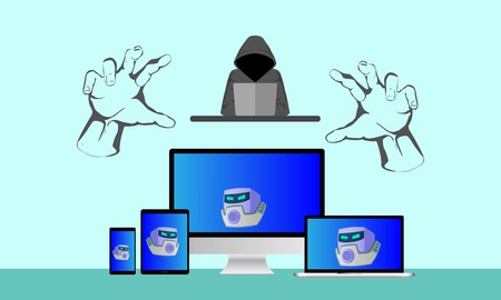 Illustration of insecure network, computer, laptop, tablet and smartphone controlled by a botnet master. Botnet is a number of Internet-connected devices, each of which is running one or more bots. Stock Photo