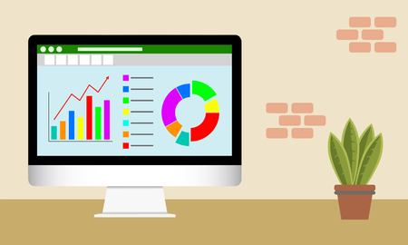 Vector illustration of Data Analytics on  computer screen. Analytical dashboard concept. Financial accounting, big data analysis, audit, project management, marketing, search engine optimization.