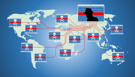 Illustration of insecure network, world wide computer controlled by a botnet master. Botnet is a number of Internet-connected devices, each of which is running one or more bots. Stock Photo