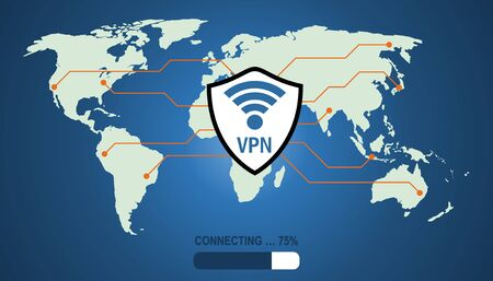 Connecting to a secure and protected Virtual Private Network (VPN). Reklamní fotografie - 135576481