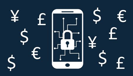Security concept: Lock of folder on the smartphone screen and a symbol of monetary currency. Reklamní fotografie