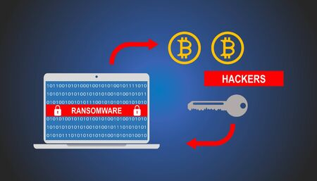 Cybersecurity and cryptocurrency concept: Payment to remove wannacry ransomware on computer