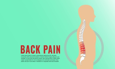 Vector illustration of medical concept poster for back pain or spinal disc herniation. Stockfoto - 123009152
