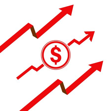 vector illustration dollar rate increase icon. Money symbol with stretching arrow up. rising prices. Business cost sale icon. cash salary increase. investment growth. 向量圖像