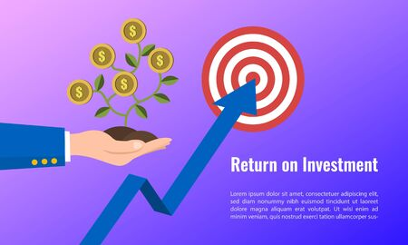 Vector illustration of business arrow target direction concept to success. Finance growth vision stretching rising up. banner flat style. Return on investment ROI. chart increase profit.