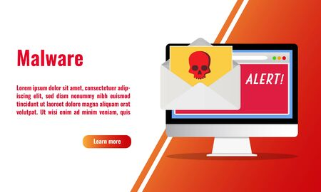 Vector illustration of malware alert. Software vulnerability. Email spam. Cyber security concept.