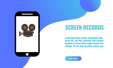 Vector illustration of screen records on mobile phone. mobile evidence concept,