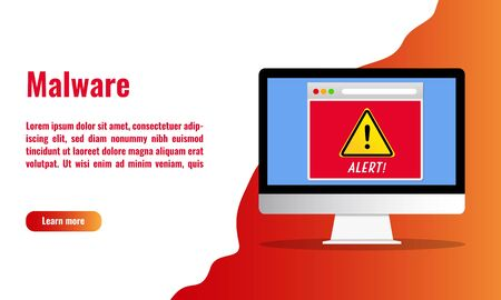 Vector illustration of malware alert. Cyber security concept.