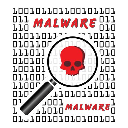 Vector Illustration of malware detected in a binary code. Cyber security concept. Information technology.
