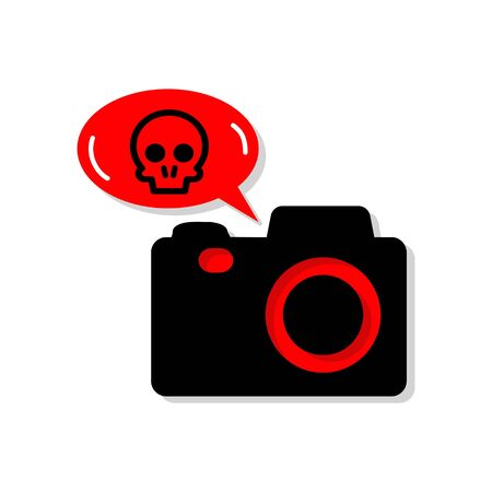 Vector illustration of DSLR Ransomware. Digital camera infected by malicious software. Digital security, sign and symbol. Illustration