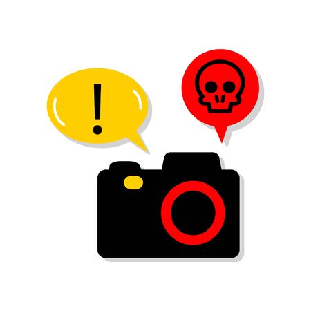 Vector illustration of DSLR Ransomware. Digital camera infected by malicious software. Digital security, sign and symbol. Ilustrace