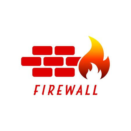 Vector illustration of firewall icon. Network security symbol. Protection logo. Cyber security and protection.