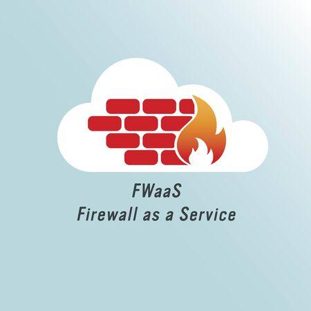 Ilustración de vector de icono de firewall en la nube. Concepto de cortafuegos como servicio (FWaaS). Logotipo de protección de red y seguridad cibernética. Infraestructura virtual