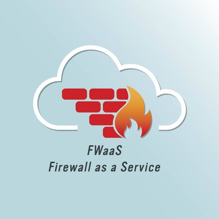 Vector illustration of cloud firewall icon. Firewall as a Service (FWaaS) concept. Network and Cyber security protection logo. Virtual infrastructure