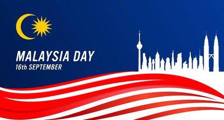 Illustration vectorielle du concept de la fête de la Malaisie et de la fête de l'indépendance. Drapeau malaisien et une ville de Kuala Lumpur.