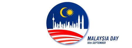 Vector illustration of Malaysia Day and Independence Day concept. Malaysian Flag and a city skyline of Kuala Lumpur.
