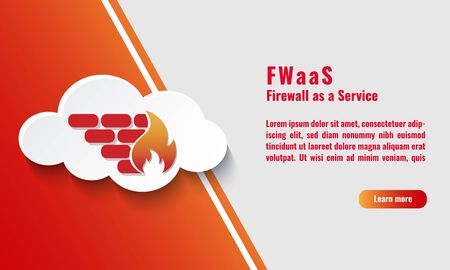 Vector illustration of cloud firewall icon. Firewall as a Service (FWaaS) concept. Network and Cyber security protection. Virtual infrastructure